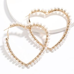 Fashion minimalist style love heart-shaped alloy inlaid pearl earrings retro earrings wholesale nihaojewelry NHJE226652's discount tags