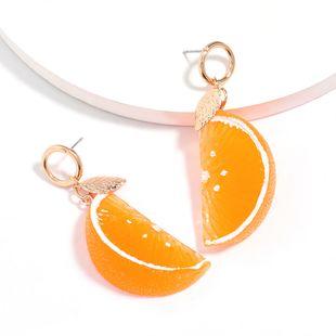Nueva moda verano fruta resina naranja pendientes al por mayor nihaojewelry NHJE226653's discount tags