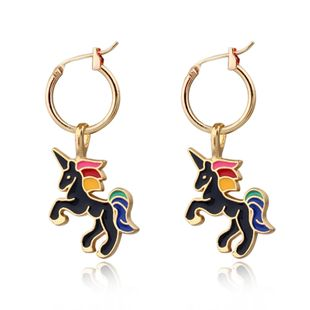 lindos pendientes de unicornio colgante de anillo de oreja oro plata animal hebilla de oreja al por mayor nihaojewelry NHGO226657's discount tags