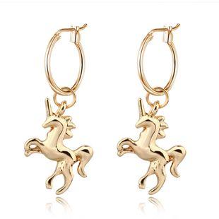 Joyería caliente personalidad linda pendientes de unicornio tridimensionales animal colgante pequeño anillo de oreja al por mayor nihaojewelry NHGO226658's discount tags