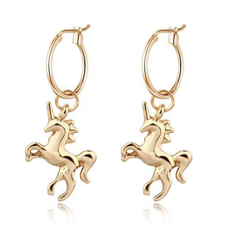 bijoux chauds mignon personnalité en trois dimensions boucles d'oreilles licorne pendentif animal petit anneau d'oreille en gros nihaojewelry NHGO226658's discount tags