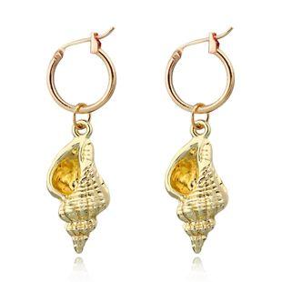 Pendientes de concha de oro estilo bohemio caliente del océano pendientes de anillo de oreja de concha al por mayor nihaojewelry NHGO226659's discount tags