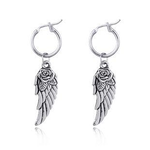 fashion trend punk hoop earrings retro rose wings large pendant earrings hot sale wholesale nihaojewelry NHGO226667's discount tags