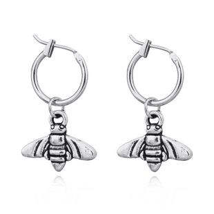 earrings punk retro alloy bee butterfly insect pendant ear ring hoop wholesale nihaojewelry NHGO226668's discount tags