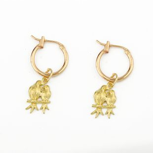 fashion alloy earrings cute couple bird animal pendant earrings hoop wholesale nihaojewelry NHGO226669's discount tags