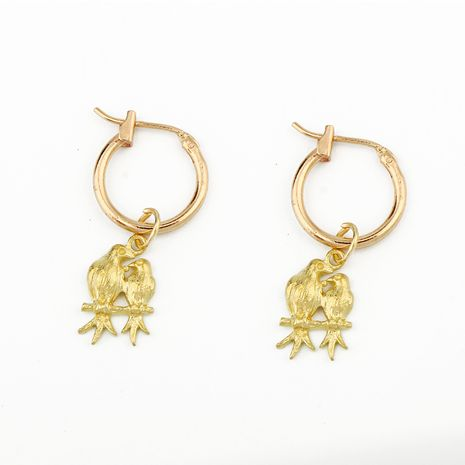 boucles d'oreilles en alliage de mode mignon couple oiseau animal pendentif boucles d'oreilles cerceau en gros nihaojewelry NHGO226669's discount tags