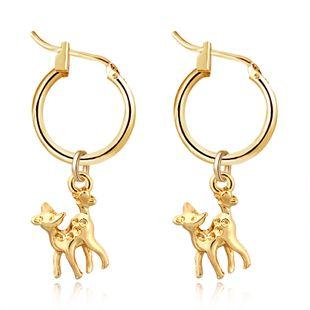 fashion alloy animal earrings three-dimensional fawn pendant hoop earrings ear hooks wholesale nihaojewelry NHGO226670's discount tags