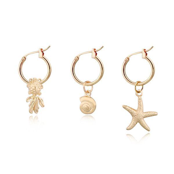 Korea cute alloy animal hoop earrings goldfish snail starfish mini pendant ear ring wholesale nihaojewelry NHGO226671