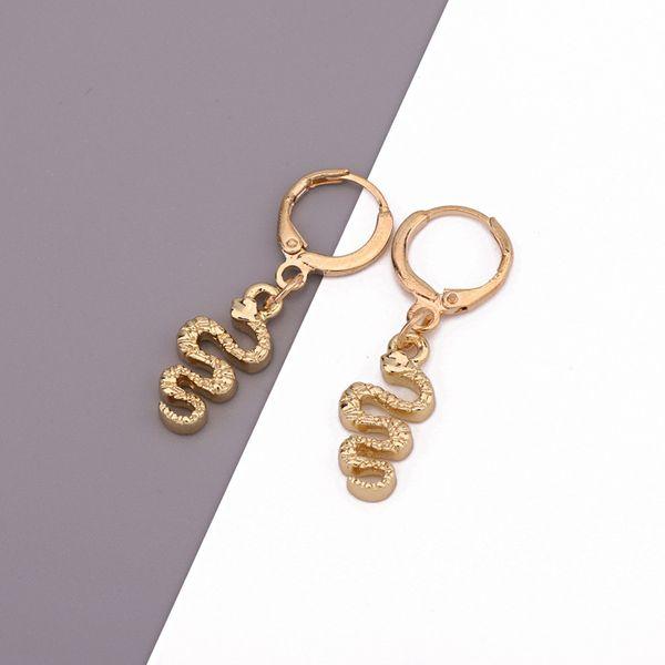 Punk cute curly little snake pendant ear ring trend mini animal earrings wholesale nihaojewelry NHGO226679