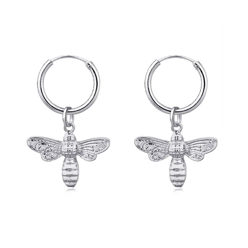 fashion three-dimensional small bee animal pendant circle earring insect ear ring hot sale wholesale nihaojewelry NHGO226682