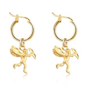 Fashionable cute three-dimensional little angel pendant ear ring gold silver earrings wholesale nihaojewelry NHGO226685's discount tags