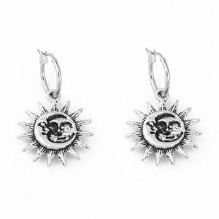 retro ancient silver three-dimensional sun pendant ear ring gypsy earrings ear buckle wholesale nihaojewelry NHGO226686's discount tags