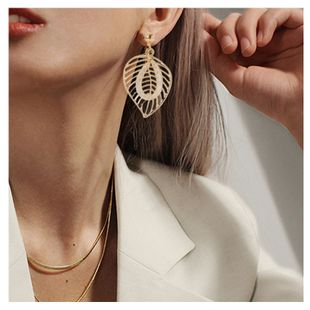 fashion new simple style wild leaf  earrings wholesale nihaojewelry NHCT226688's discount tags