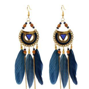 ethnic style earrings triangle feather earrings jewelry tassel earrings wholesale nihaojewelry NHCT226693's discount tags