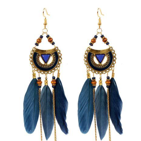boucles d'oreilles de style ethnique triangle boucles d'oreilles plumes bijoux boucles d'oreilles pompon en gros nihaojewelry NHCT226693's discount tags