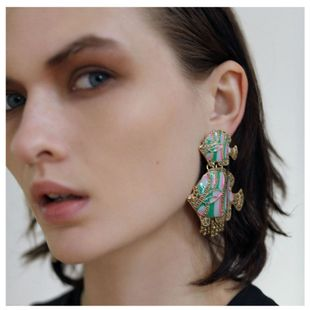 fashion alloy retro oil drop earrings exaggerated animal earrings wholesale nihaojewelry NHCT226701's discount tags