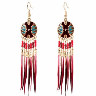 fashion new retro  long tassel feather  pearl wild earrings wholesale nihaojewelry NHCT226702's discount tags
