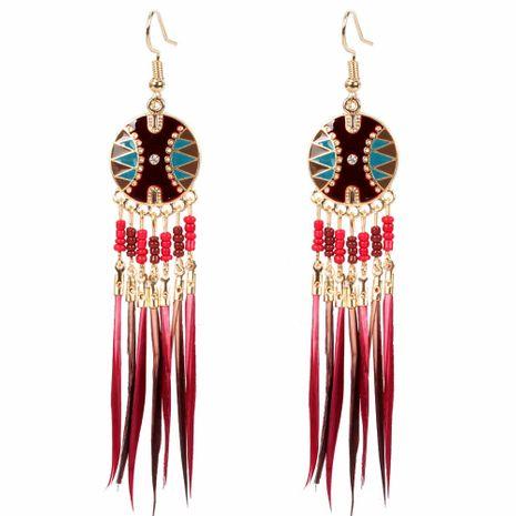 mode nouveau rétro longue gland plume perle sauvage boucles d'oreilles en gros nihaojewelry NHCT226702's discount tags