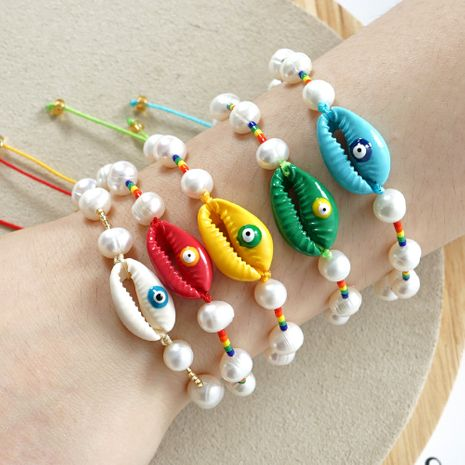 simple natural pearl shell bracelet original design woven color rice beads handmade jewelry wholesale nihaojewelry NHGW226706's discount tags