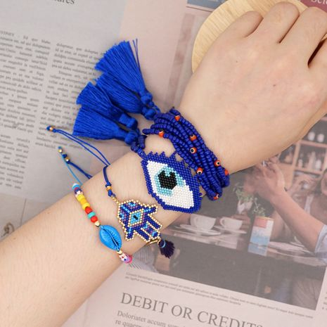 simple natural bracelet Miyuki glass rice beads woven lucky eye tassel handmade jewelry wholesale nihaojewelry NHGW226712's discount tags