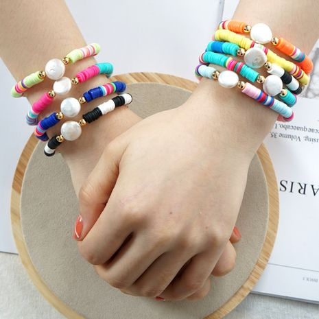 Simple Baroque natural pearl bracelet original retro beach color clay handmade jewelry wholesale nihaojewelry NHGW226715's discount tags