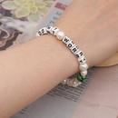 Simple Creative Bracelet Perles Baroque Naturel Deau Douce Perle Lettre Verre Perle Bijoux Faits  La Main en gros nihaojewelry NHGW226716