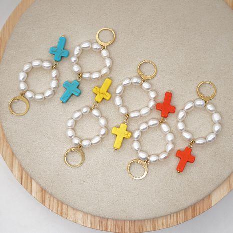 simple créative style national croix naturelle eau douce perle longues boucles d'oreilles bijoux faits à la main en gros nihaojewelry NHGW226719's discount tags