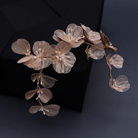 gold flower petal hairband bride wedding headdress pearl handmade headband dress hair accessories wholesale nihaojewelry NHHS226725's discount tags