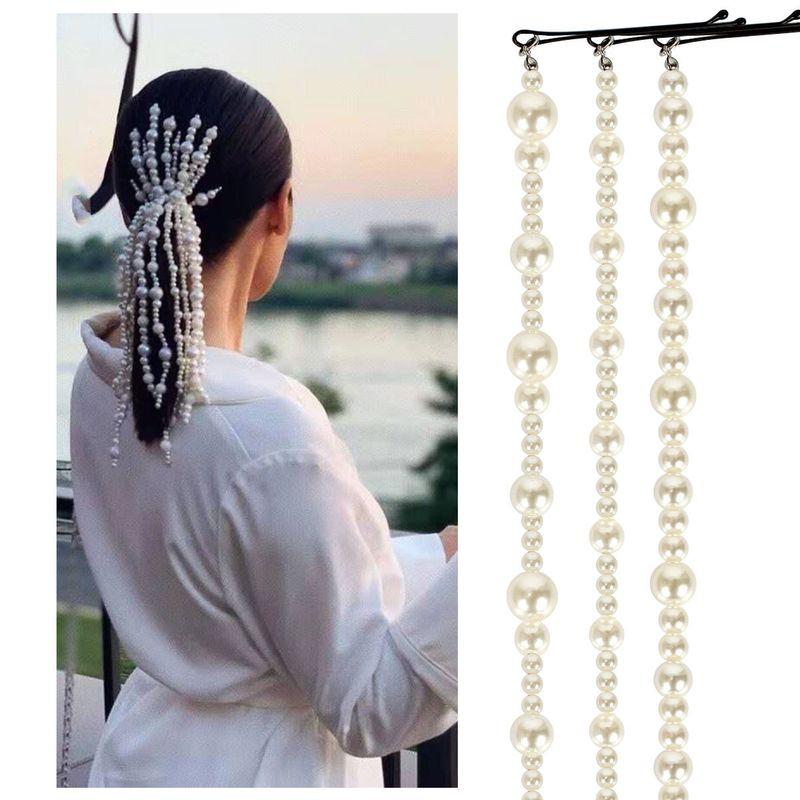 pearl hai clips hair accessories ABS imitation pearl hair chain hair accessories NHCT226752