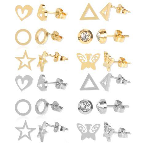 Stainless steel stud earrings 12 pairs geometric earrings wholesale nihaojewelry NHCT226753's discount tags