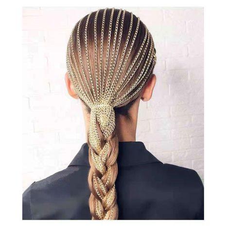 pinces à cheveux femmes mode gland chaîne coiffe chaîne de tête chaîne de cheveux mot clip NHCT226755's discount tags