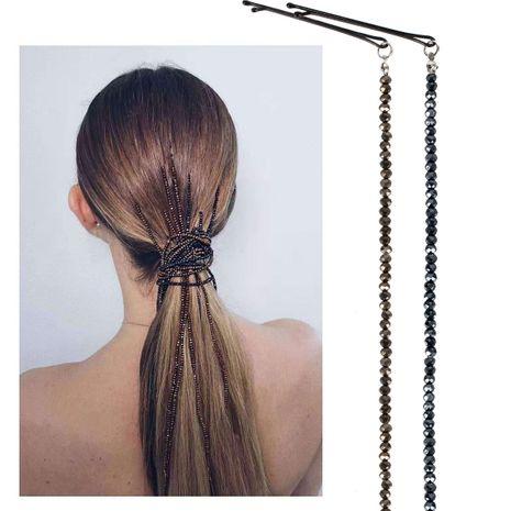 bead hair clips headdress head chain word clip hair chain tassel hair accessories NHCT226756's discount tags