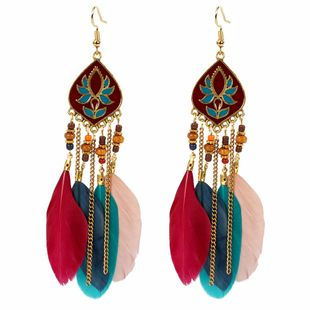 Long feather tassel earrings exaggerated Indian style earrings women NHCT226763's discount tags