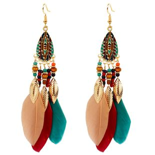 exaggerated earrings retro style feather earrings jewelry personality bohemian earrings NHCT226764's discount tags
