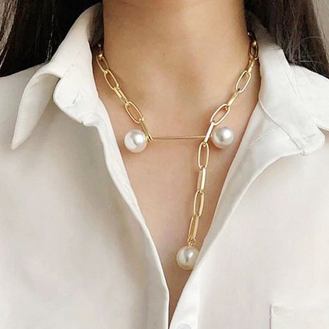 simple hollow rectangular chain adjustable imitation pearl brooch women's necklace clavicle chain wholesale nihaojewelry NHCT226766's discount tags