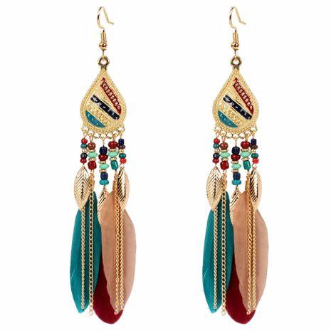 boucles d'oreilles bijoux exagérées boucles d'oreilles en plumes de style ethnique simples boucles d'oreilles NHCT226769's discount tags