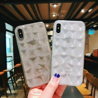 Transparent diamond pattern mobile phone case for iphone 11 /xsmax/6plus diamond TPU protective sleeve wholesale nihaojewelry NHKI226835