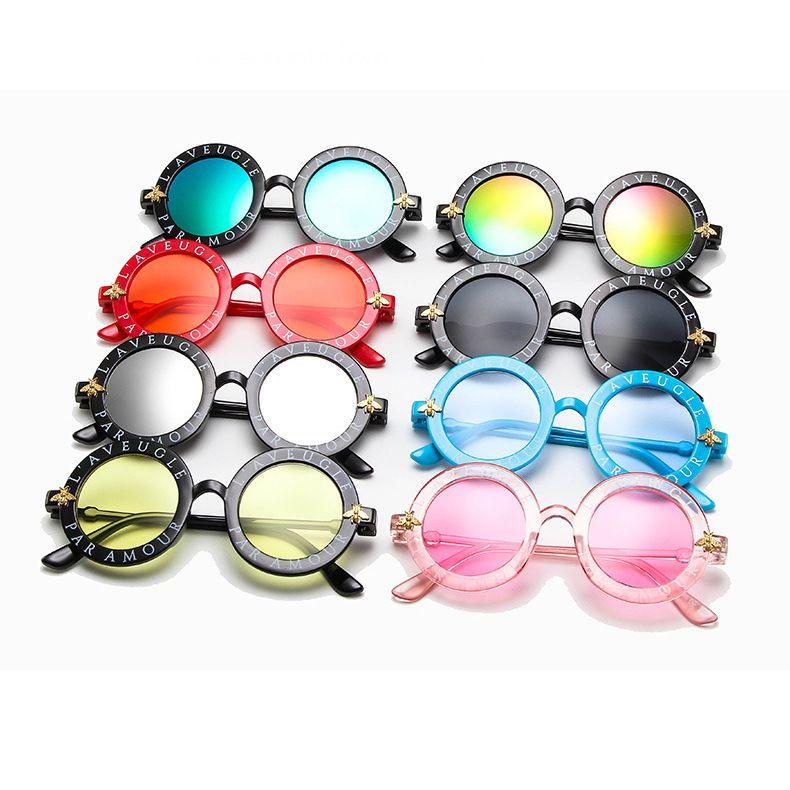 childrens round frame sunglasses cute little bee sunglasses parentchild fashion sunglasses wholesale nihaojewelry NHBA226837