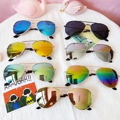 Children's sunglasses fashion colorful children's aviator sunglasses frog color reflective wholesale nihaojewelry NHBA226855