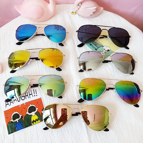 Children's sunglasses fashion colorful children's aviator sunglasses frog color reflective wholesale nihaojewelry NHBA226855's discount tags