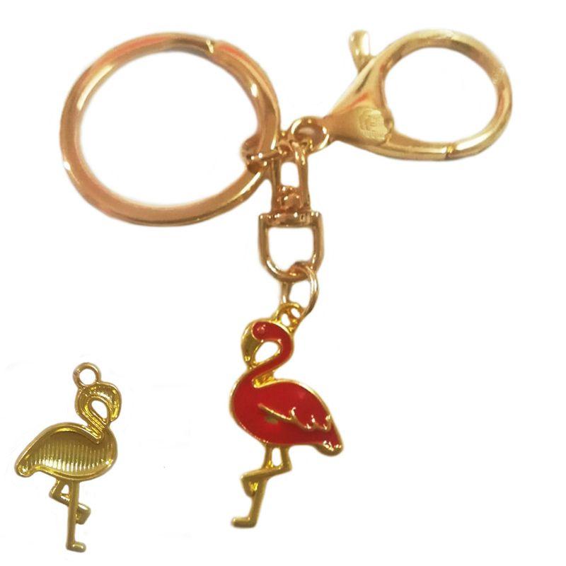 Dripping flamingo key chain golden swan bag pendant car key chain wholesale nihaojewelry NHDI226904