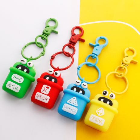 Environmental protection quality soft plastic three-dimensional environmental protection classification trash can key chain bag pendant sesame wholesale nihaojewelry NHDI226916's discount tags