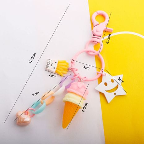 Simulation fries ice cream key chain pendant paint dog buckle candy color wild bag pendant wholesale nihaojewelry NHDI226920's discount tags