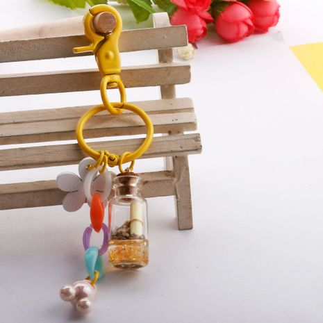 Creative quicksand glass bottle key chain fashion flower bag pendant color chain pendant wholesale nihaojewelry NHDI226931's discount tags