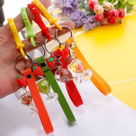Fresh fruit juice strawberry pendant key chain creative simulation mini drink school bag pendant wholesale nihaojewelry NHDI226940's discount tags