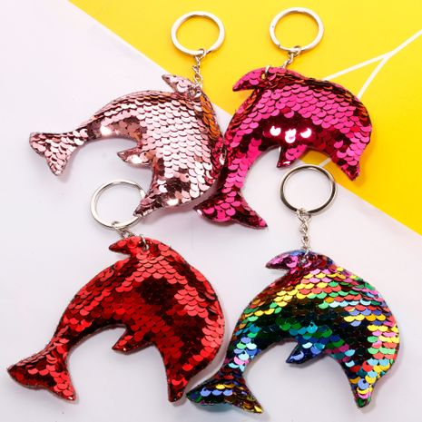Hot-selling reflective double-sided sequin keychain marine life dolphin sequin bag car keychain wholesale nihaojewelry NHDI226942's discount tags