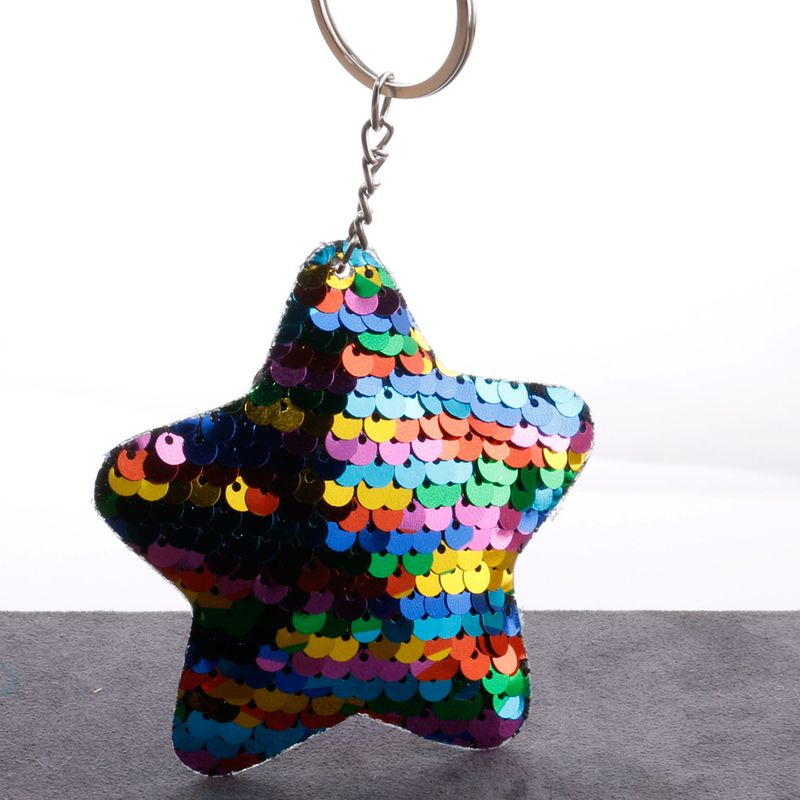 sequin key chain double-sided fish scale reflective sequins pentagram coin purse car key chain wholesale nihaojewelry NHDI226948