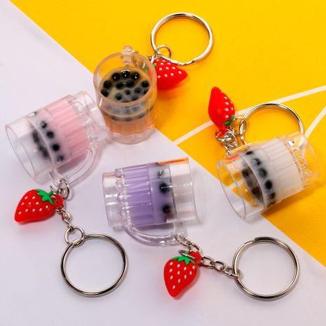 Creative Mini Simulation Drink Milk Tea Keychain Strawberry Pendant wholesale nihaojewelry NHDI226954's discount tags