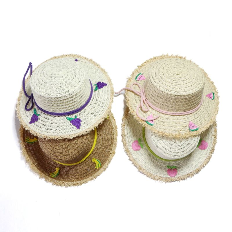 Children's sun hat straw hat fruit hat summer big flat top sun hat wholesale nihaojewelry NHTQ226958