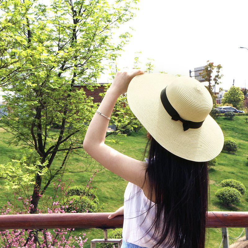 Straw hat sun hat summer bowknot seaside sunscreen hat straw big brim hat custom wholesale nihaojewelry NHTQ226959